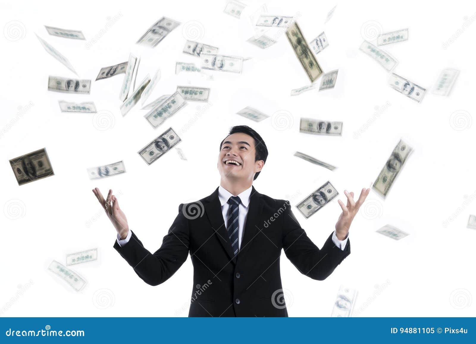 Billet De Banque Tombant Au-dessus Du Jeune Homme D affaires Image ... 64f3dfe4903