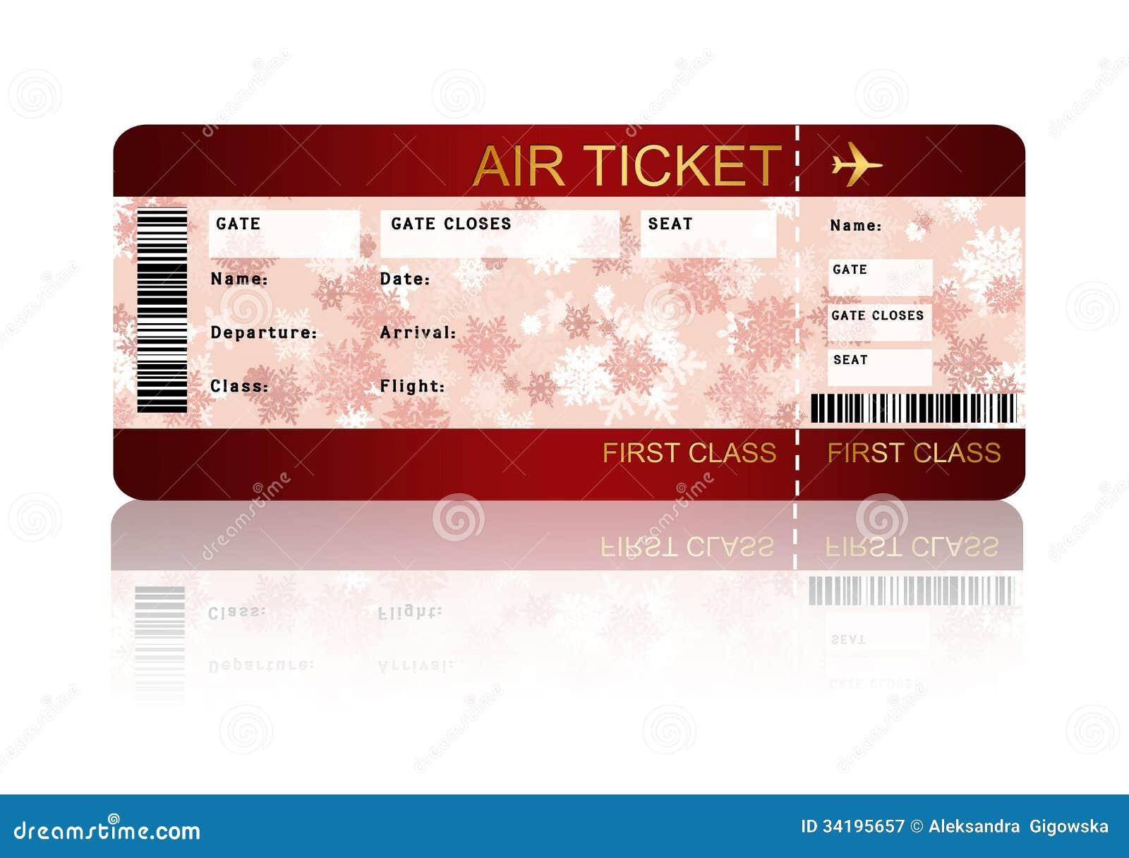 Billet de carte d embarquement de ligne aérienne de Noël d isolement au-dessus du blanc