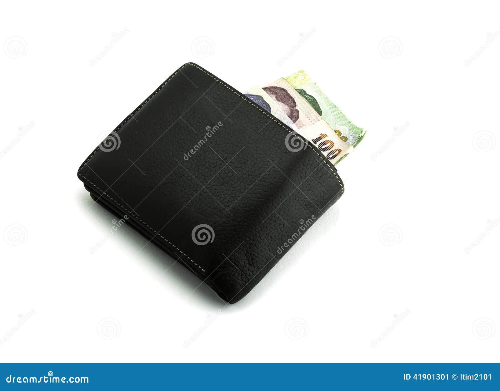 Billete de banco del dinero de la moneda del baht tailandés en cartera