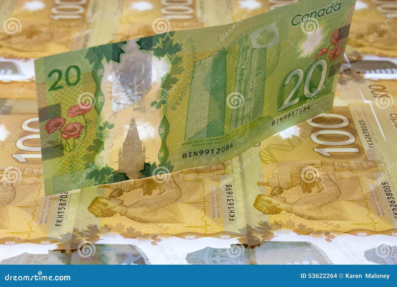 Billete de dólar del canadiense veinte