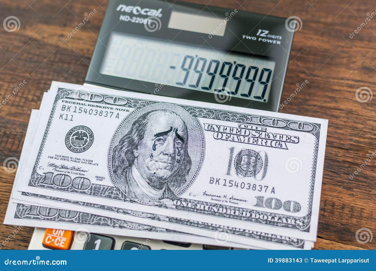 Billete de dólar gritador de Franklin en calulator