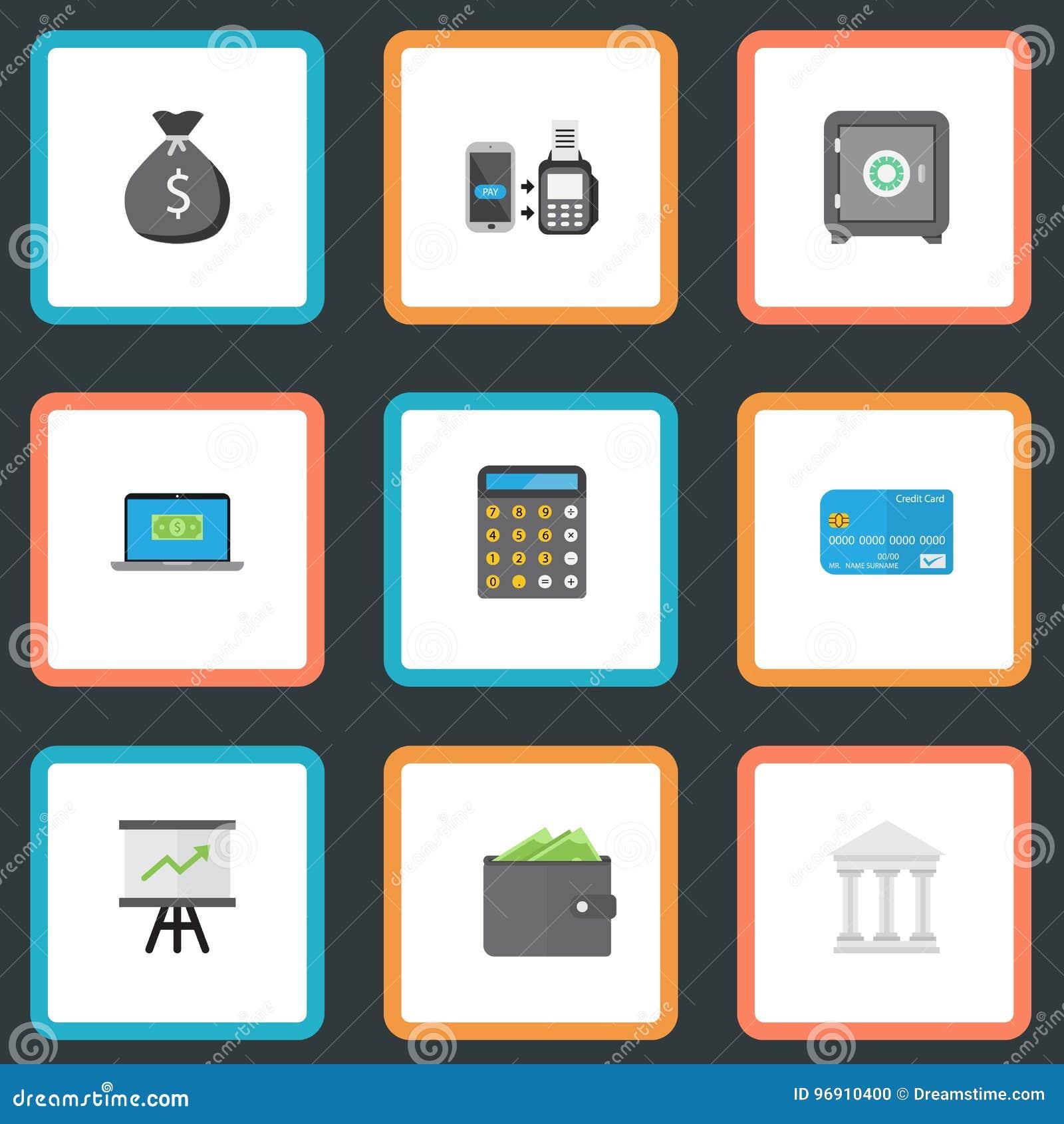 Billetero plano de los iconos, contabilidad, el pagar del telecontrol y otros elementos del vector Sistema de depositar símbolos