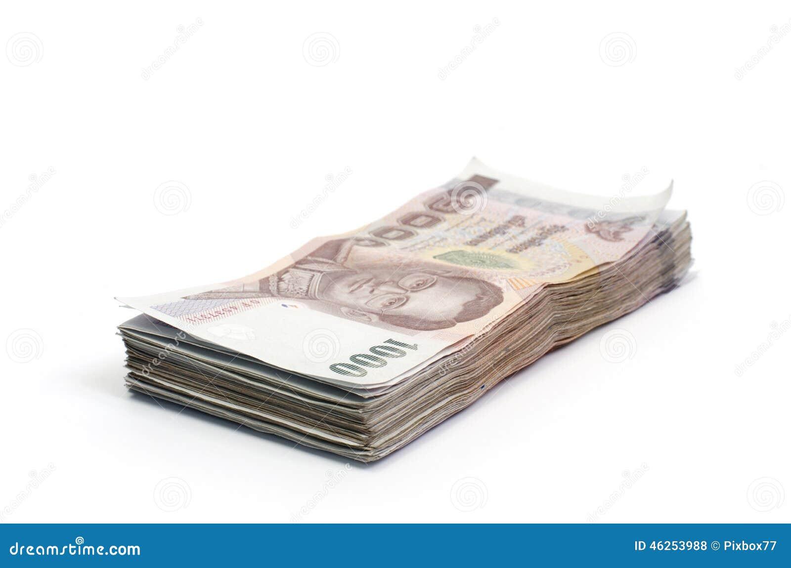 Billetes de banco del dinero de Tailandia aislados