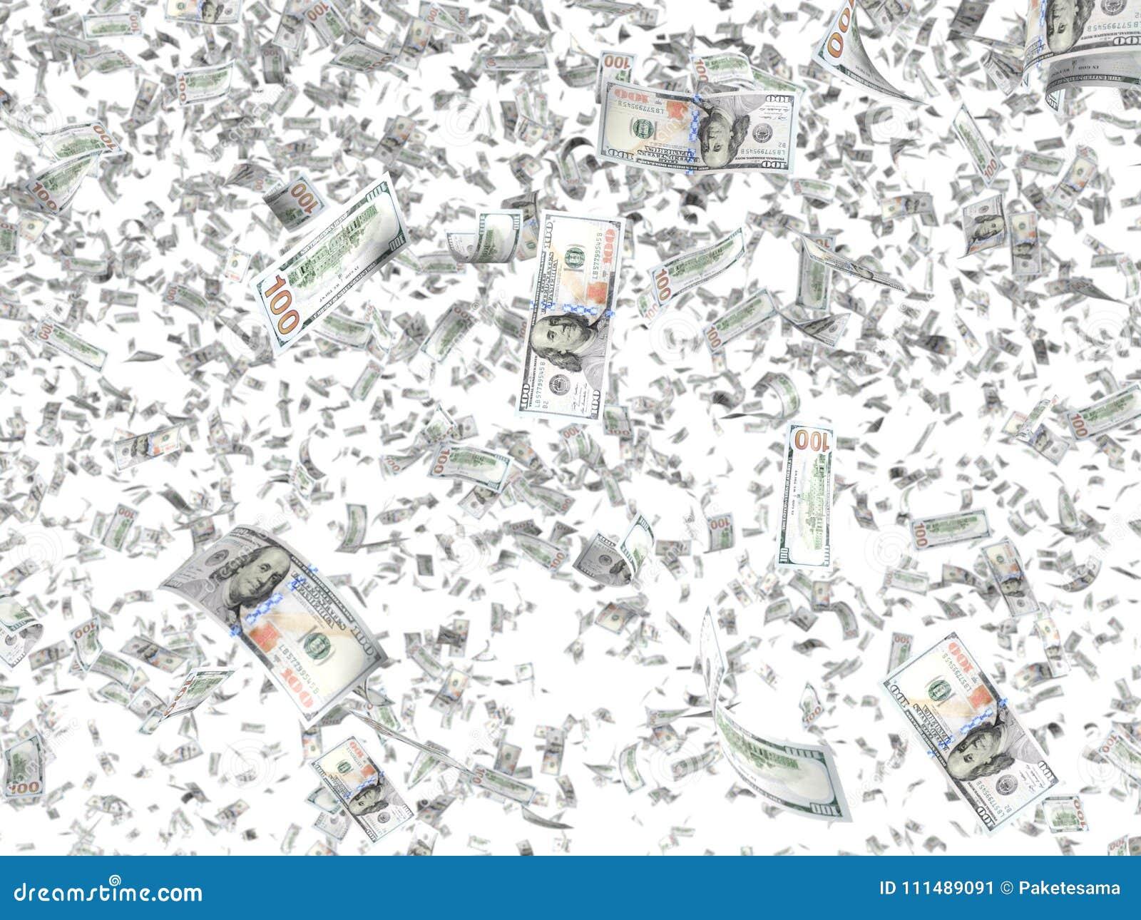 Billetes de banco que caen aislados en el fondo blanco