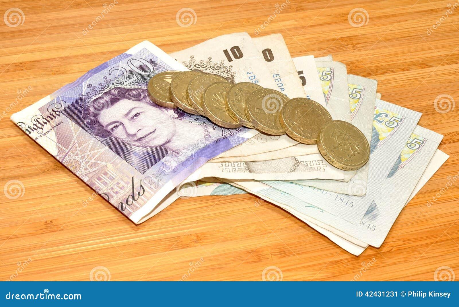Billetes de banco y monedas ingleses