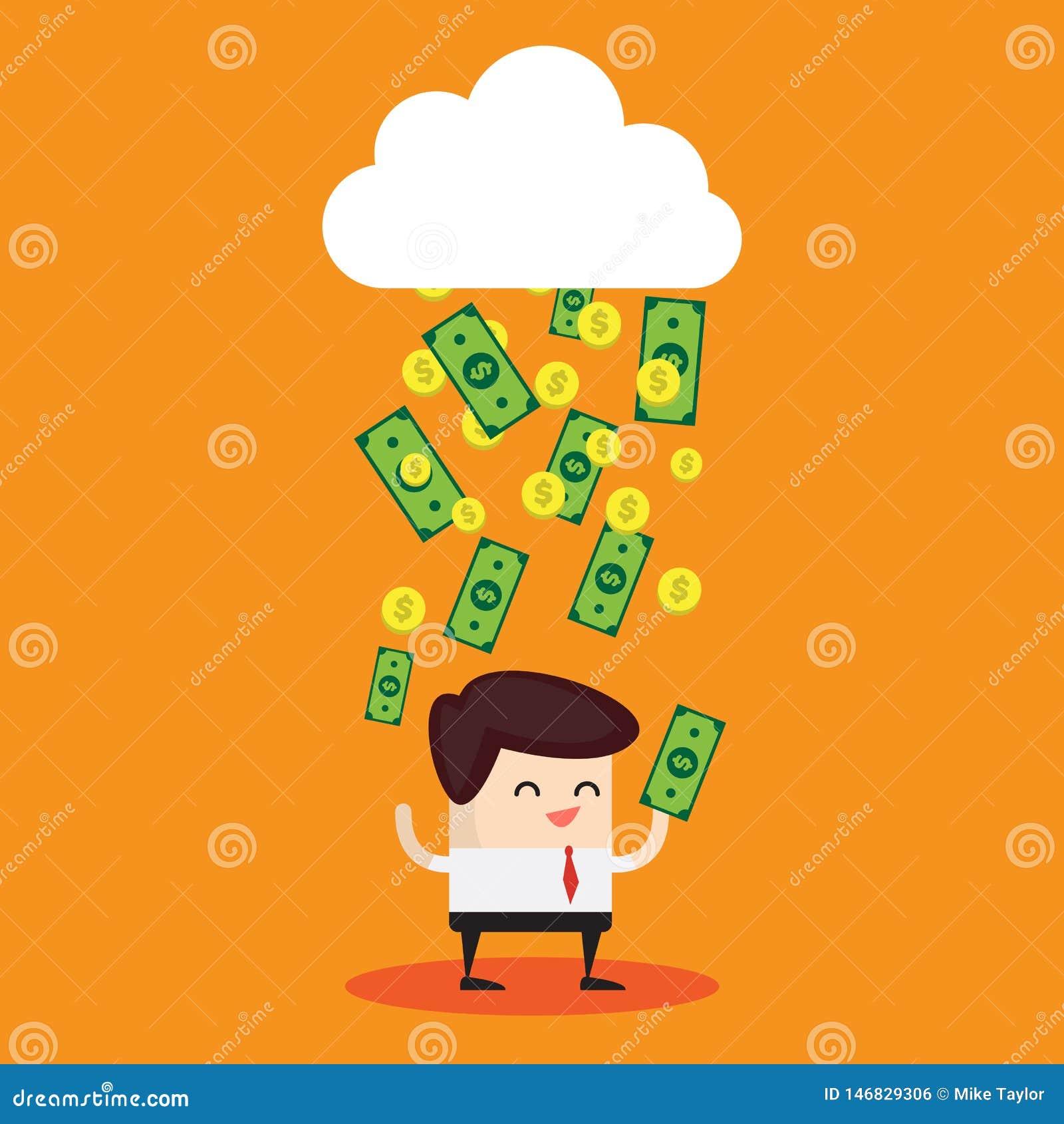Billetes de d?lar que llueven de una nube