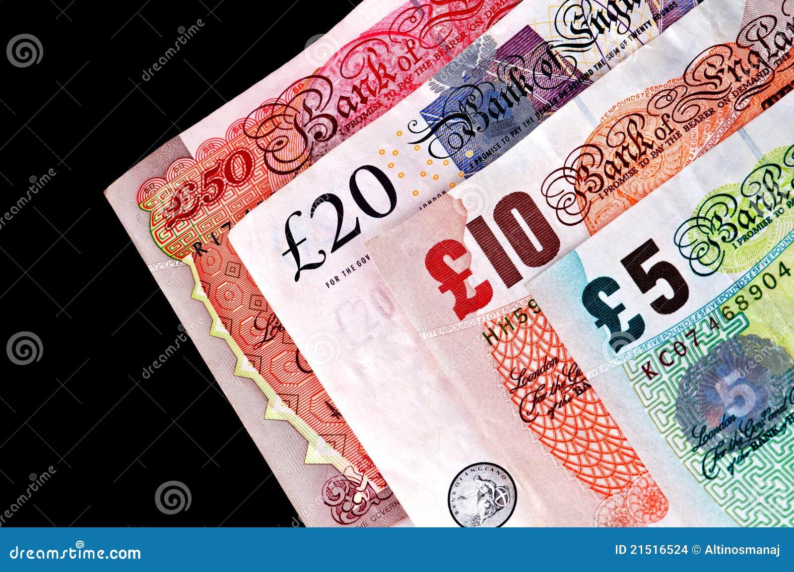 Billetes del dinero en circulación BRITÁNICO - billetes de banco.