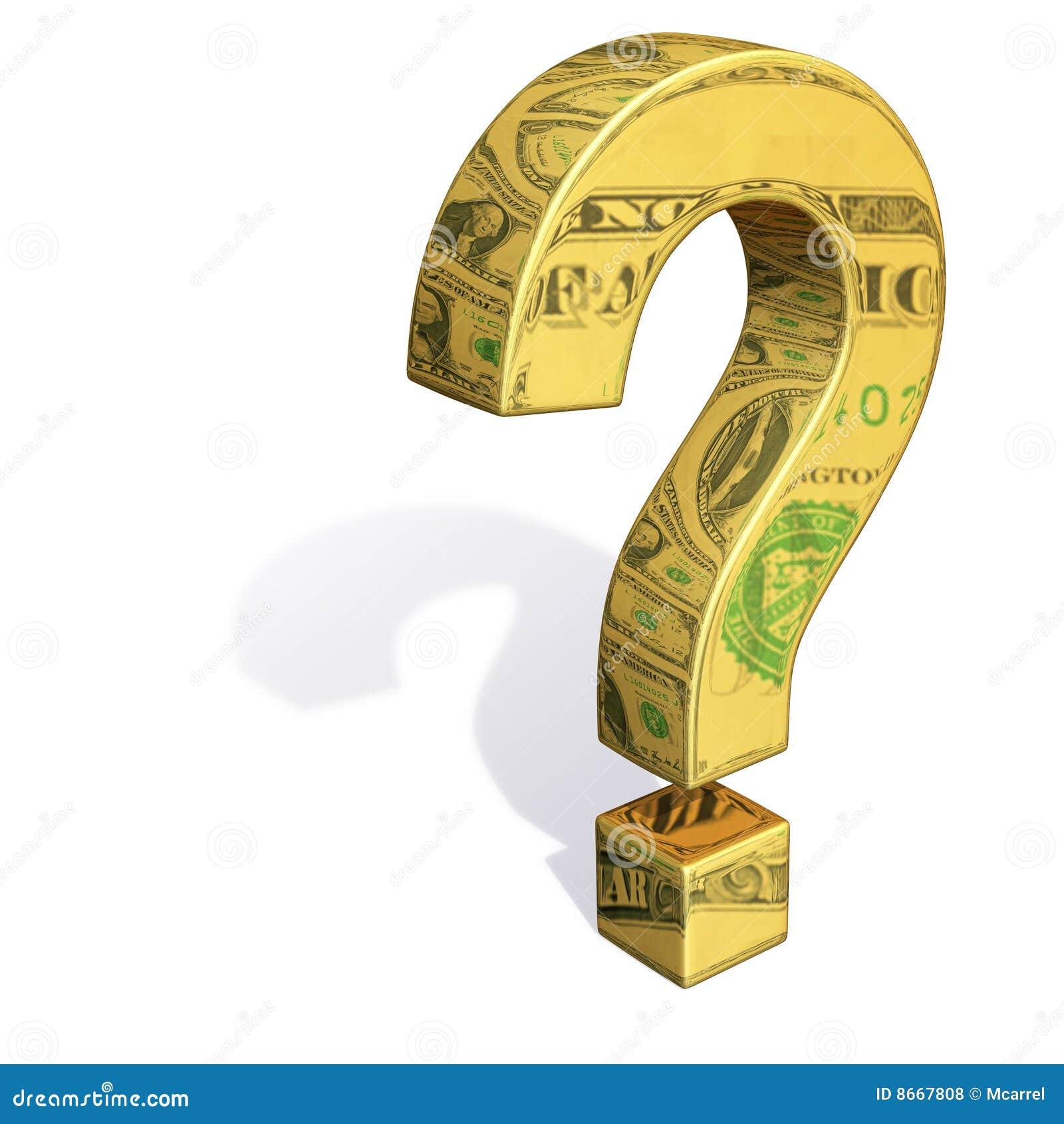 Billets d un dollar se reflétants de point d interrogation d or