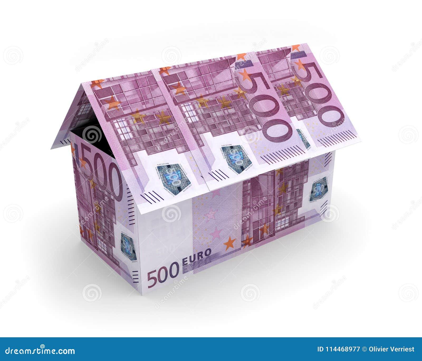 Billets De Banque 3d De Maison D Euros Illustration Stock Illustration Du Euros Maison 114468977