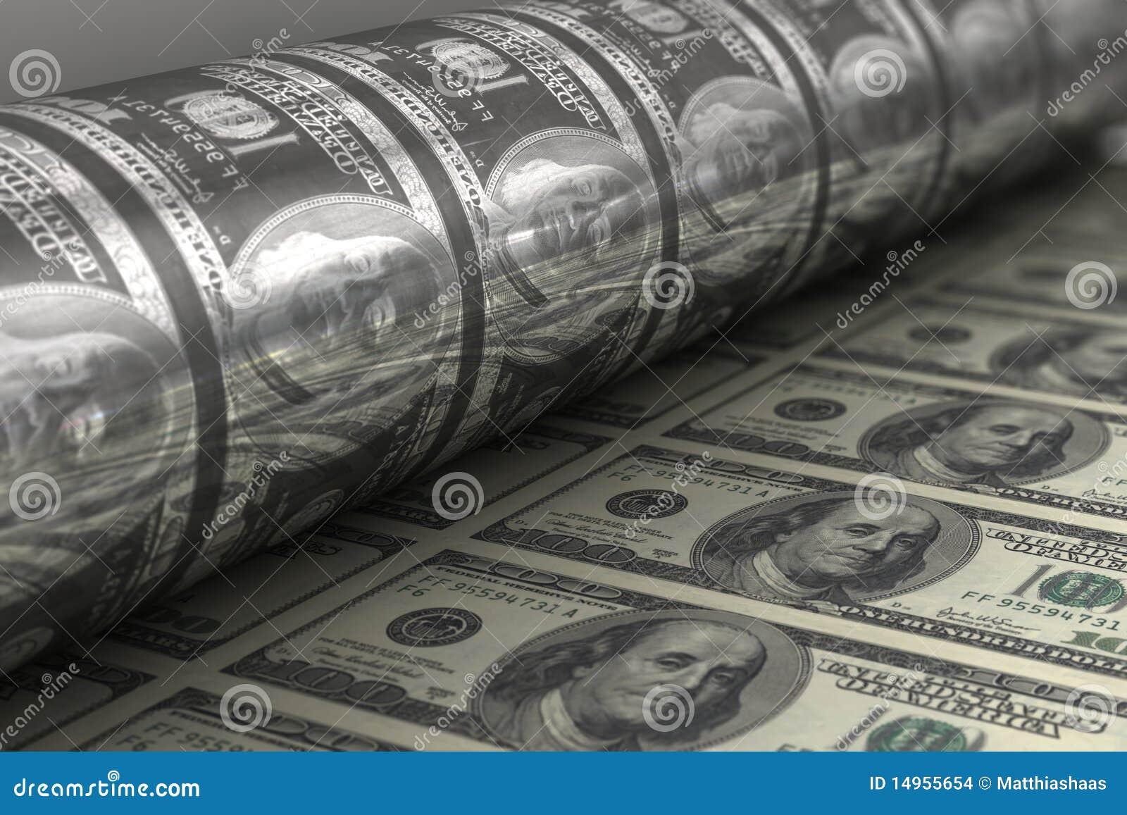 billets de banque de dollar us d 39 impression images stock image 14955654. Black Bedroom Furniture Sets. Home Design Ideas