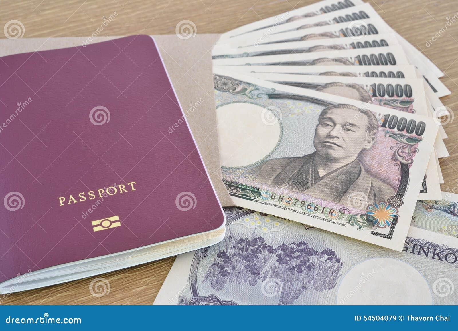 Billets de banque japonais avec le passeport