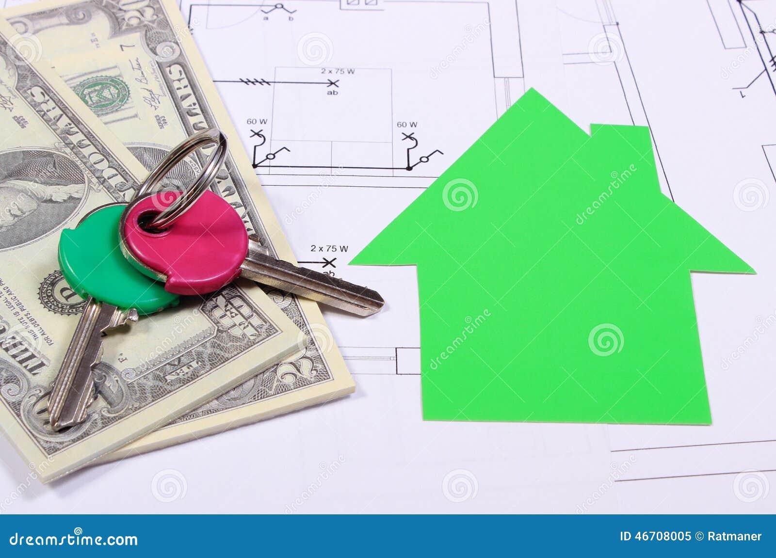 Billets de banque maison de livre vert et cl s sur le for Les cles de la maison