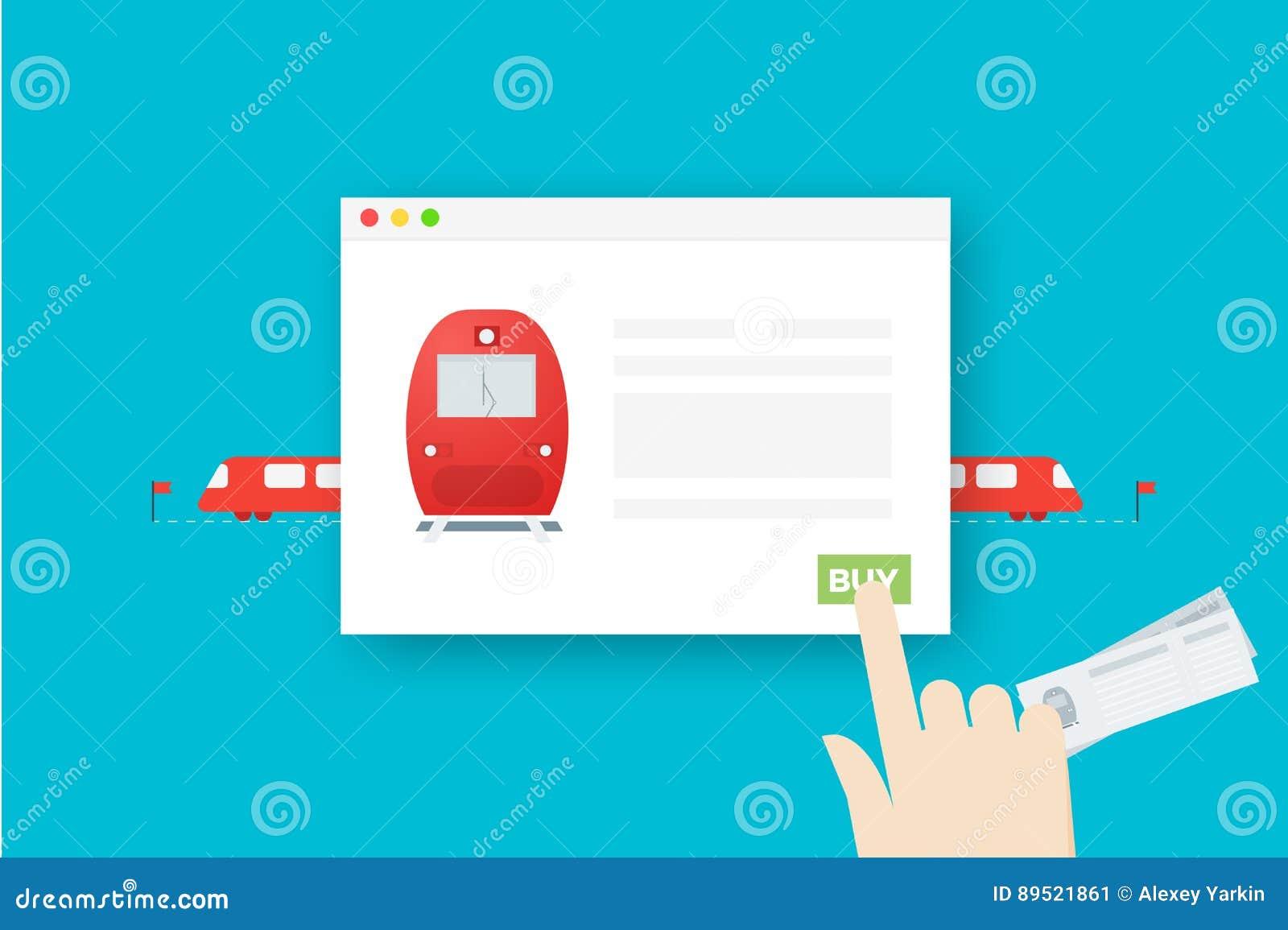 Billets de train en ligne Illustration plate conceptuelle de vecteur Le résumé remettent le web browser