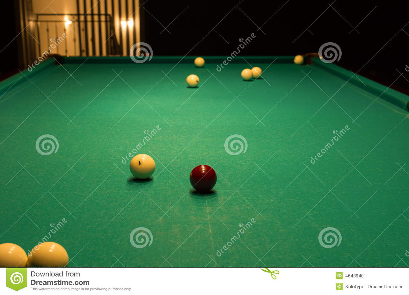 Pool Table Balls Scattered Billiard Balls Scattered on