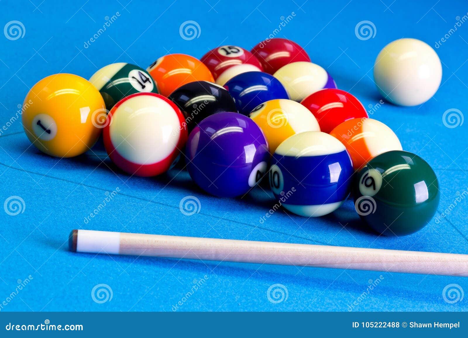 Pool Table Setup >> Billiard Pool Game Eight Ball Setup With Cue On Billiard Table Stock
