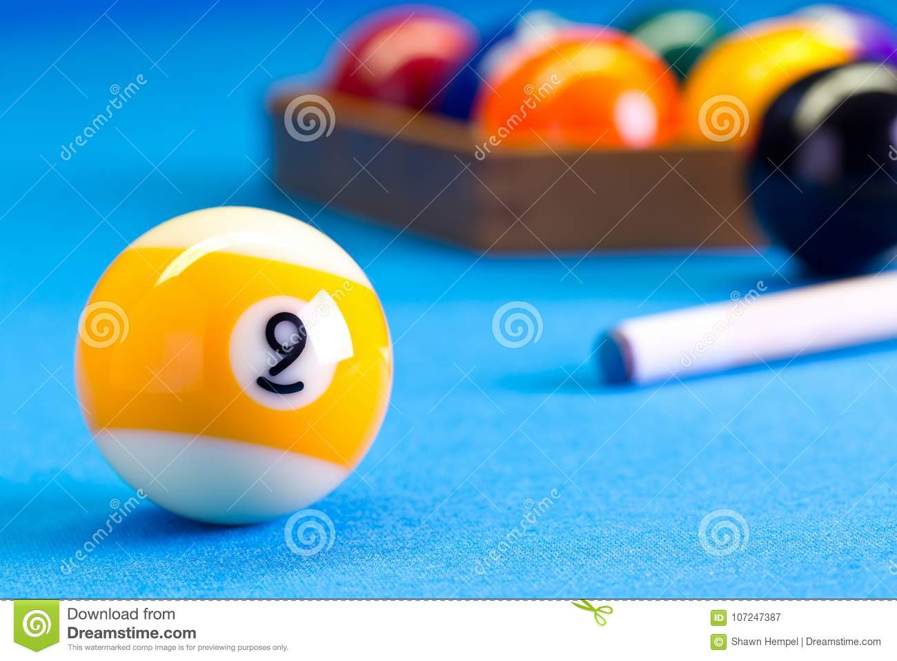 Billiard Pool Game Nine Ball With Cue On Billiard Table Stock Image - How to set up a pool table