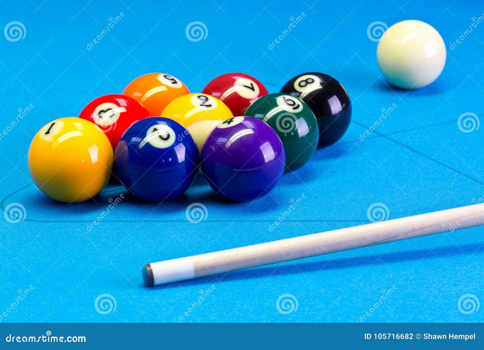 Pool Table Setup >> Billiard Pool Game Nine Ball Setup With Cue On Billiard