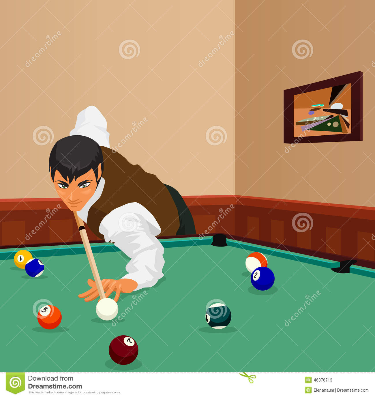 Billiard Shot Man Plays Stock Vector Image 46876713