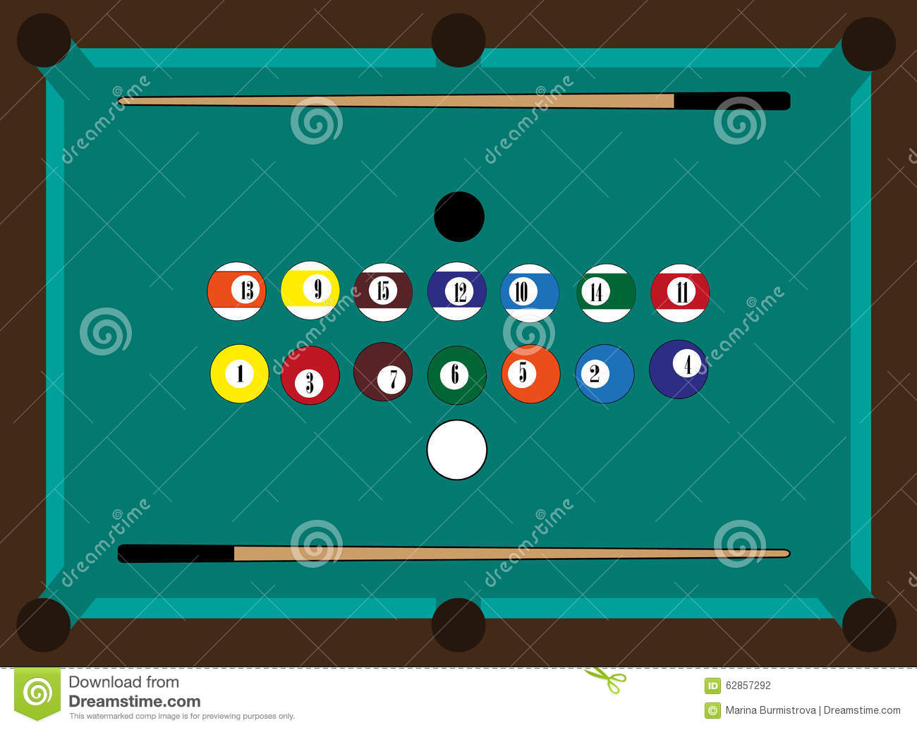 Billiard Table Billiard Balls Two Cue Stock Vector