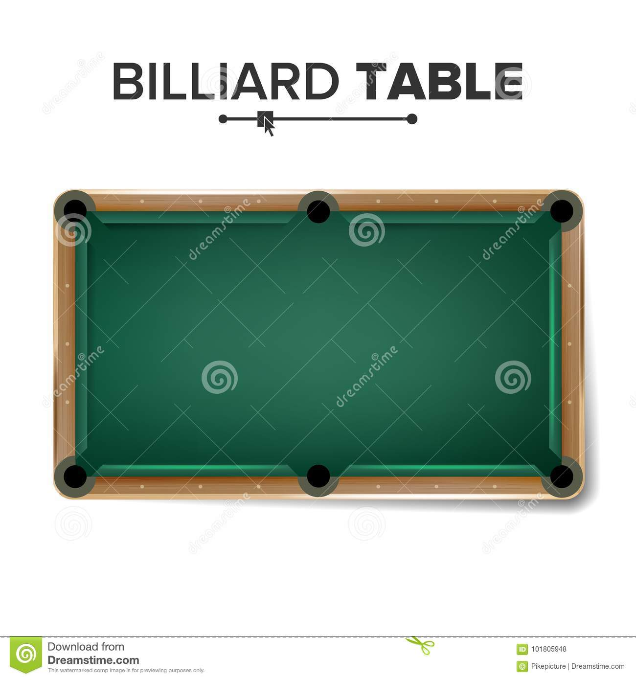 Billiard Table Vector Classic Green Pool Table Top View Isolated - Pool table top only