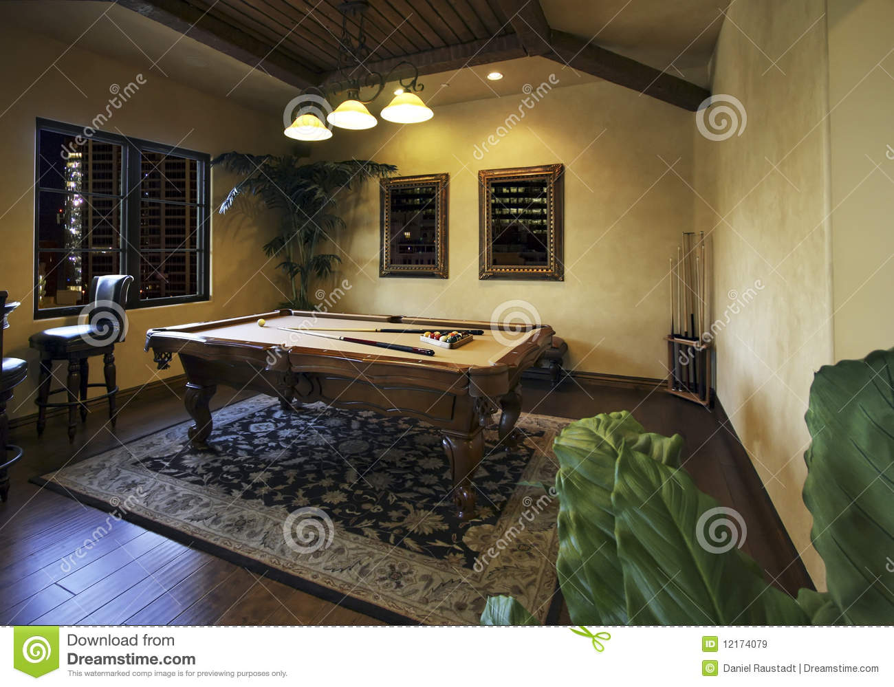 Billiards Game Room After Dark Royalty Free Stock Images