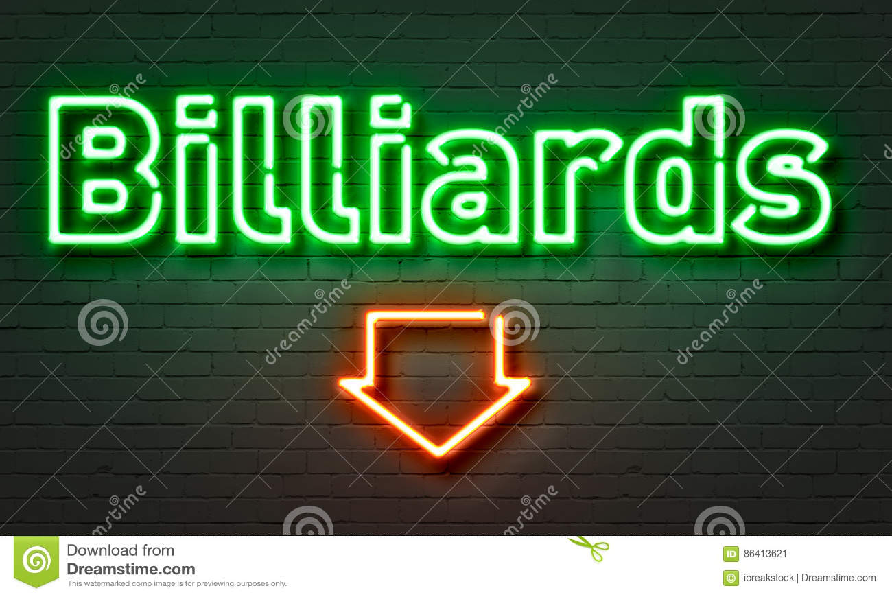Billiards neon sign on brick wall background.