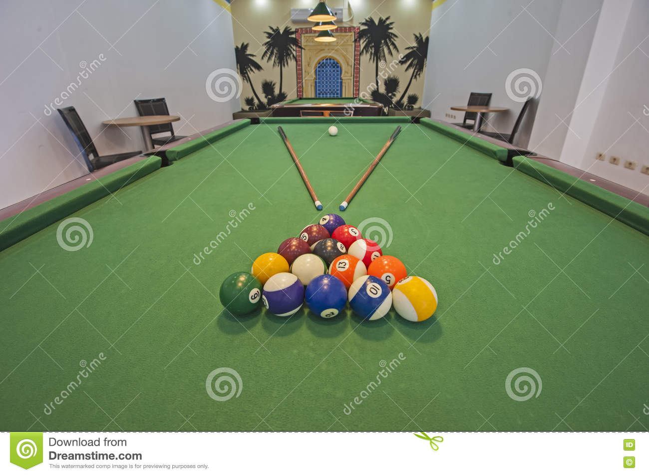 Billiards pool table in a games room royalty free stock - Pool table green felt ...