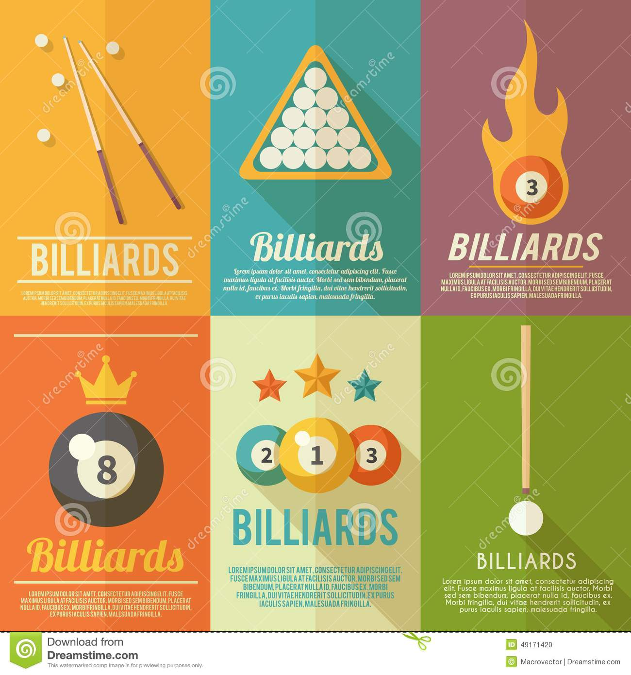 Billiards Poster Set Stock Vector Illustration Of Club