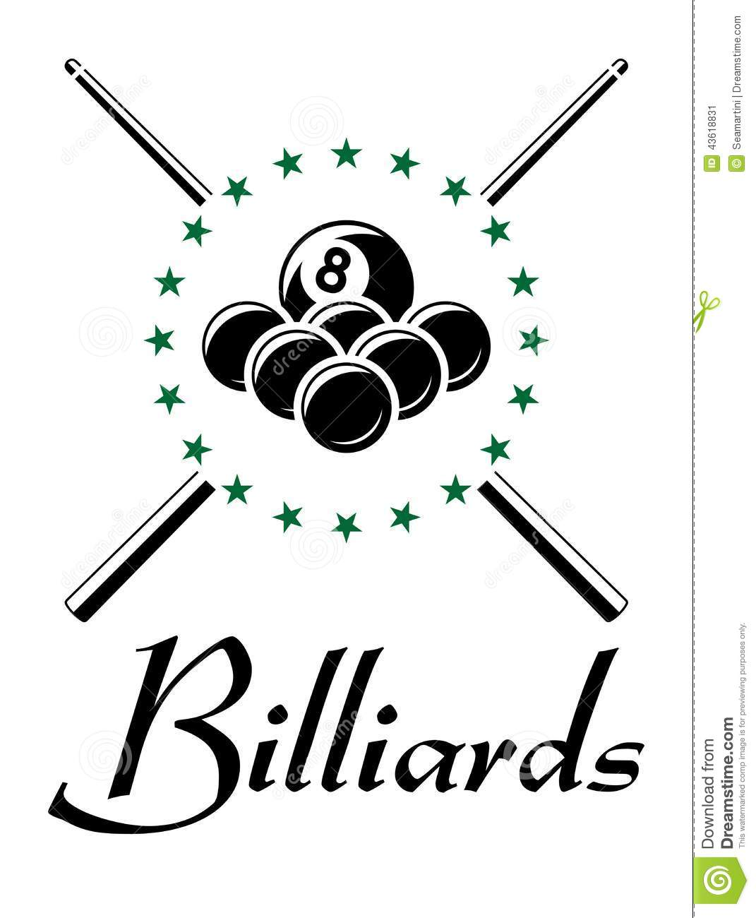 Billiards And Snooker Sports Emblem Stock Vector Image