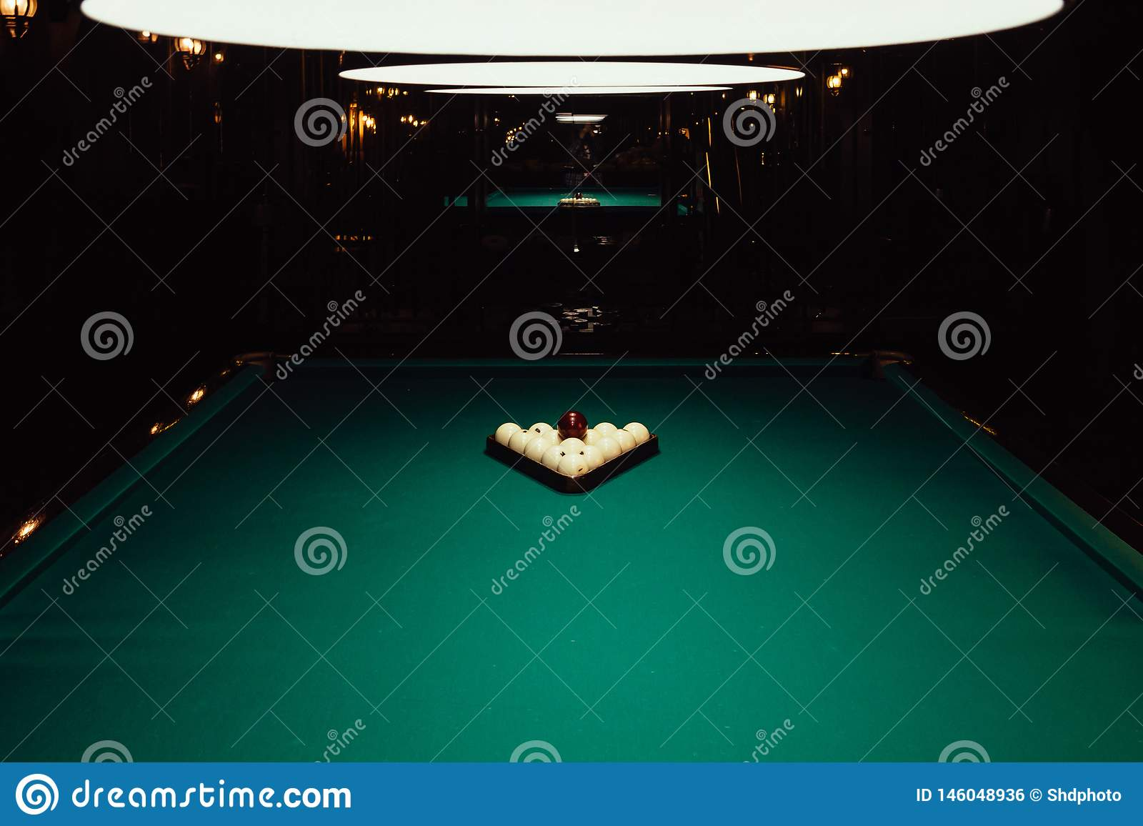 Billiards table with white balls. Billards pool game