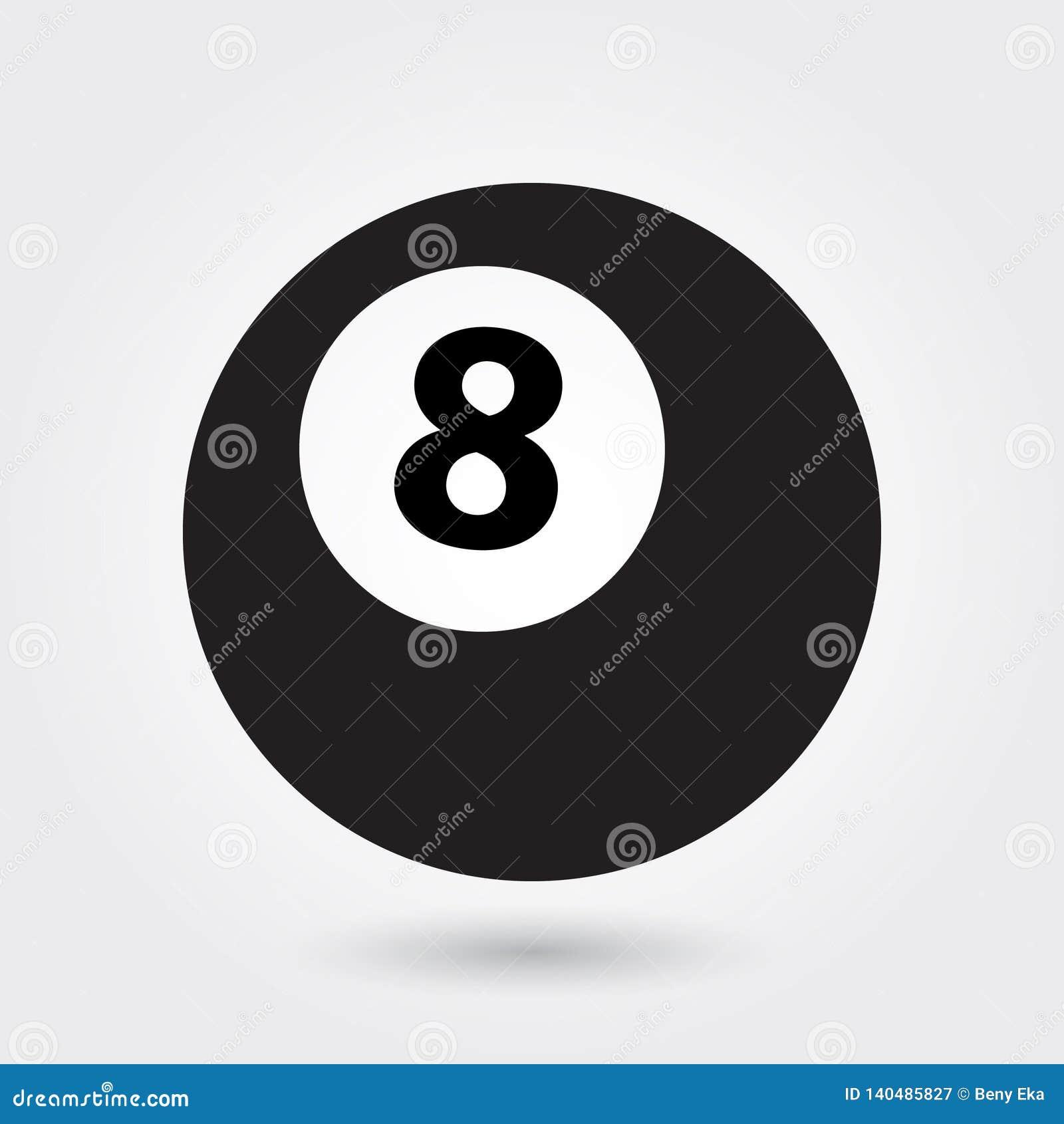 Billiardvektorsymbolen, symbolen för 8 boll, sportar klumpa ihop sig symbol Modern enkel skåra, fast vektorillustration