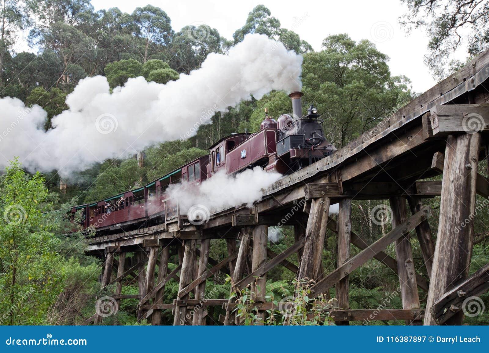 Billy Steam Train de tracción icónico en el puente de caballete en th