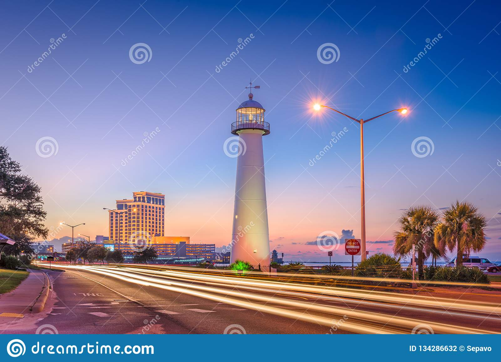 Biloxi Mississippi Usa At Biloxi Lighthouse Stock Photo Image