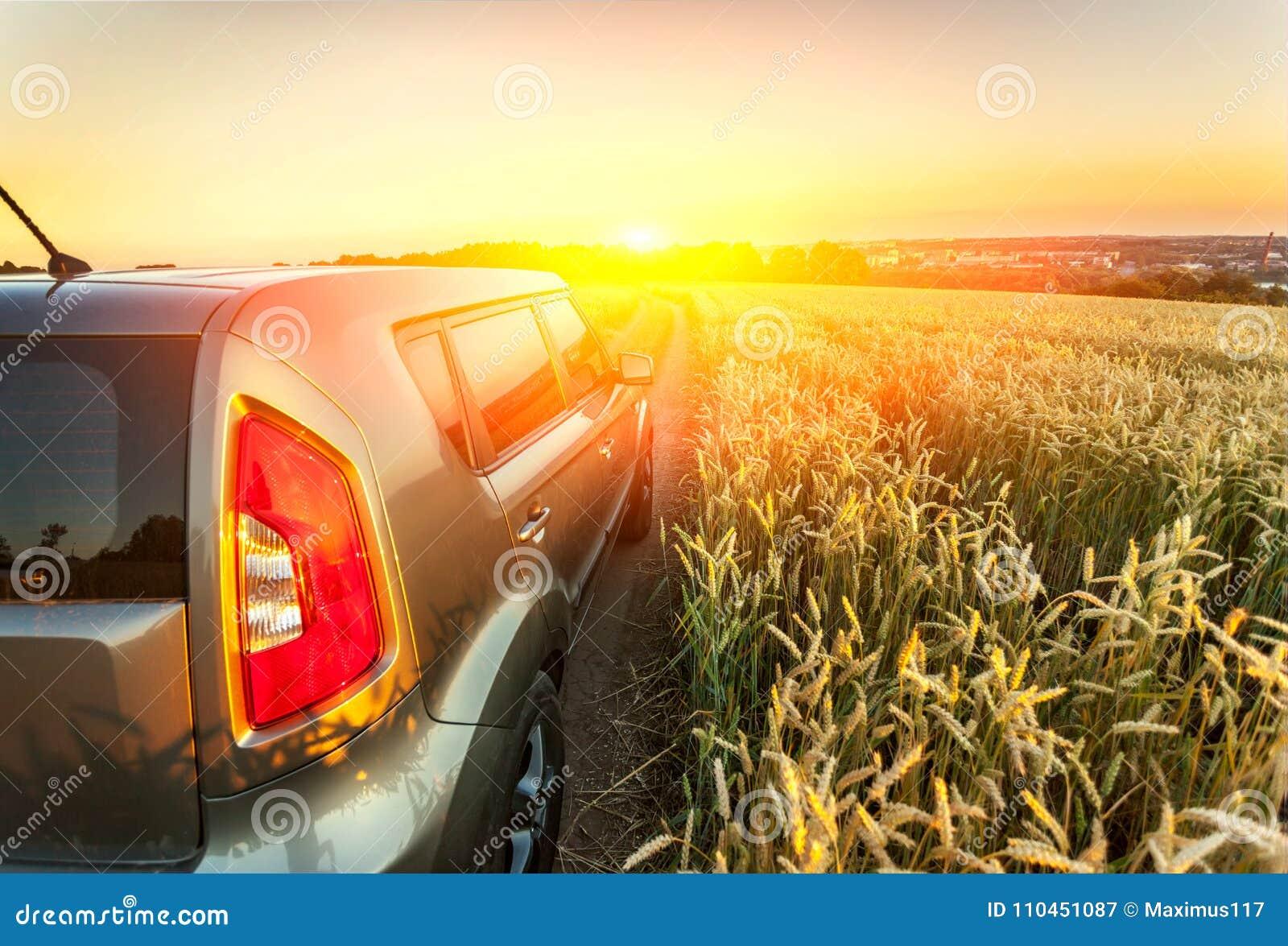 Bilresande Medel på ett naturfält som begreppsecotechno