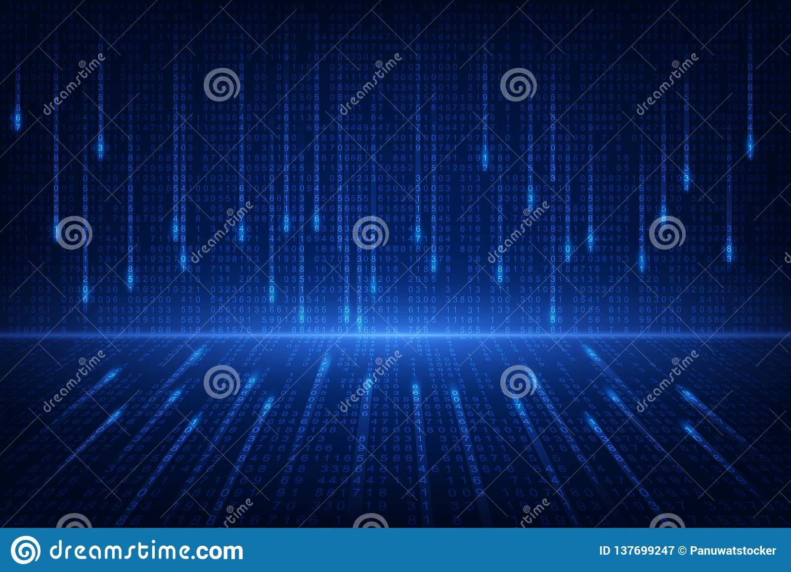 Binärschaltungszukunfttechnologie, blauer Internetsicherheitskonzepthintergrund, Internet-Vektorillustration der abstrakten hallo
