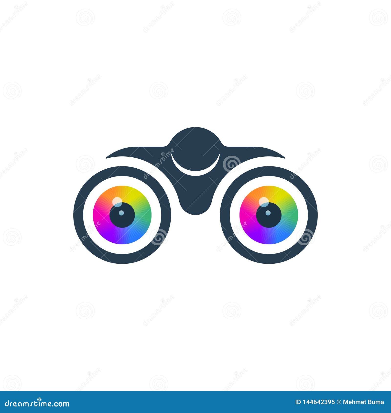 Binóculos e ícone dos olhos
