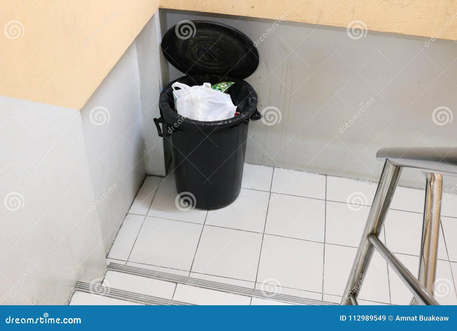 Bin Garbage or Trash on sidewalks staircase side in apartment