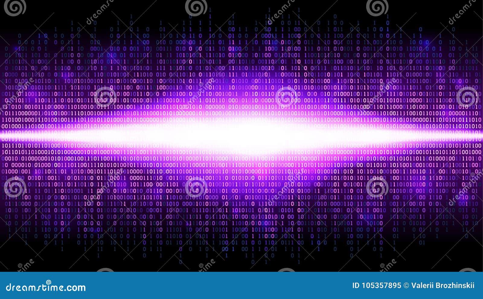 Binaire abstracte achtergrond met heldere uitstraling in de digitale ruimte, gloeiende wolk van grote gegevens