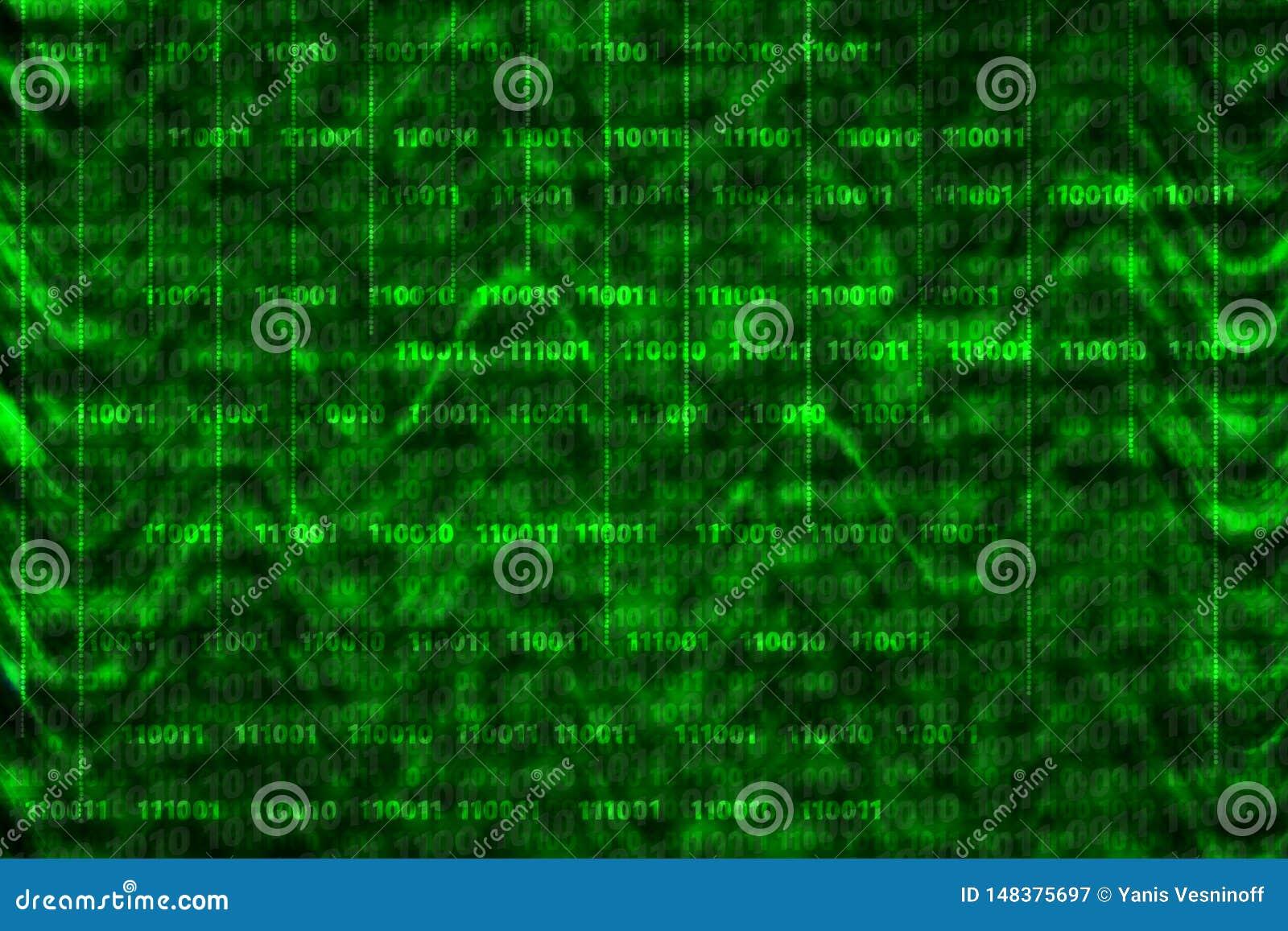 Binaire computercode inzake de abstracte achtergrond met golven