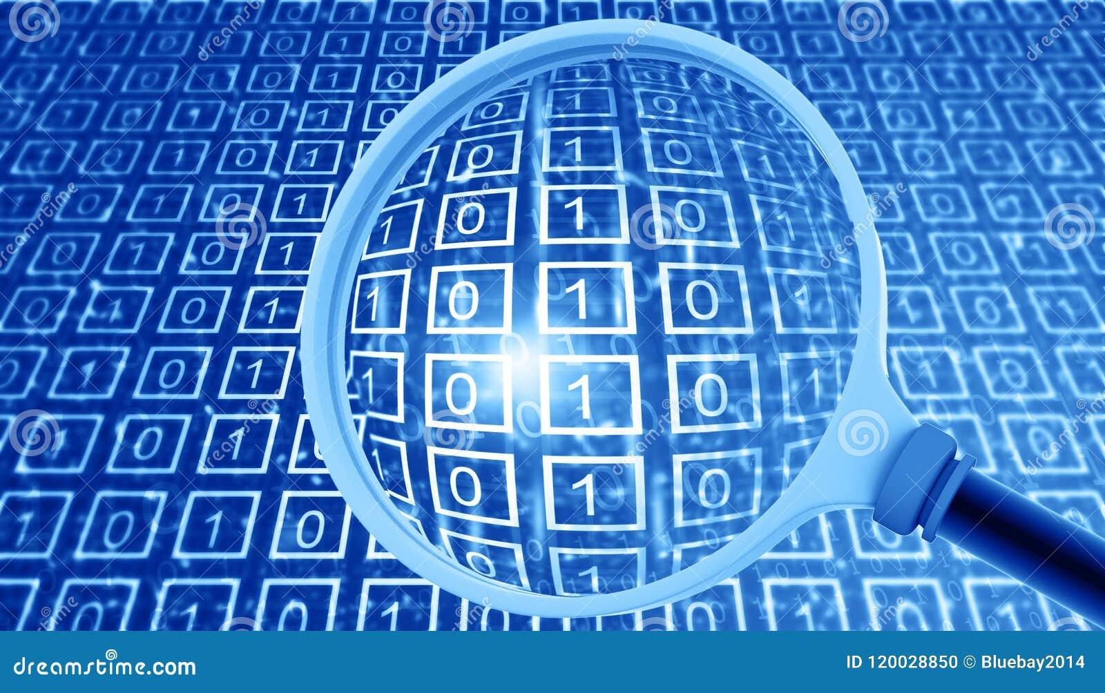 Binaire gegevens met vergrootglas