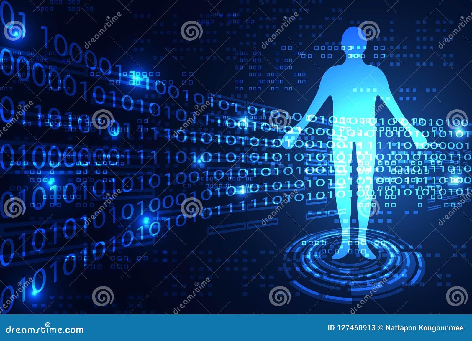 Binaire humaine de technologie de concept abstrait de la science sur le bleu de pointe