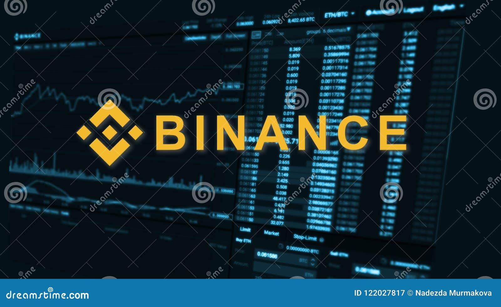 Binance é um mercado de troca da finança Conceito cripto do fundo da moeda