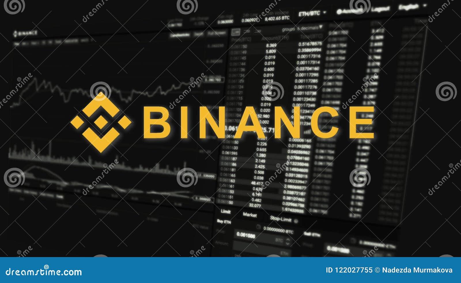 Binance es un mercado de intercambio de las finanzas Concepto Crypto del fondo de la moneda