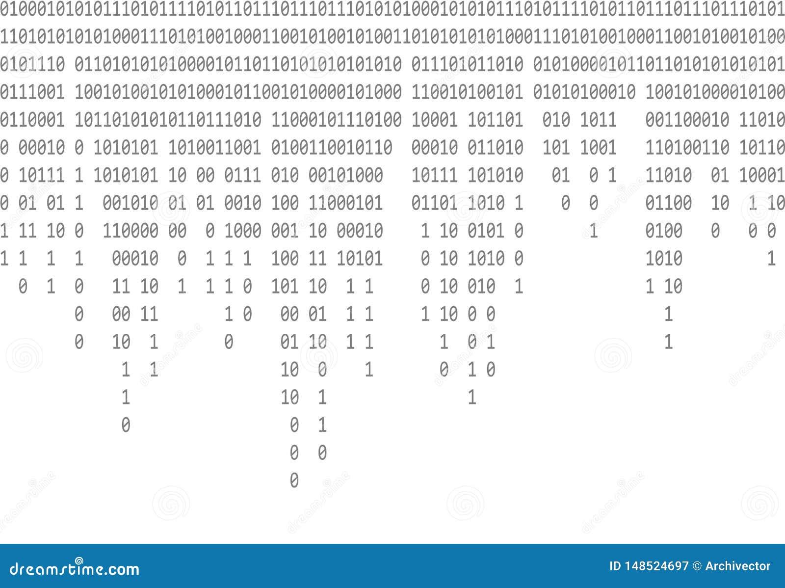 Binarnego kodu spada szary tło