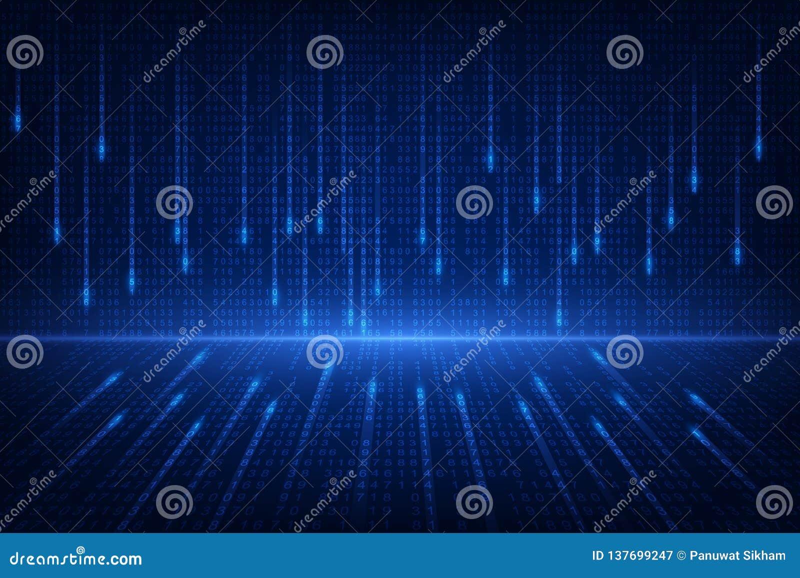 Binarnego obwodu przyszłościowa technologia, błękitny cyber ochrony pojęcia tło, abstrakt prędkości interneta wektoru cyfrowa ilu