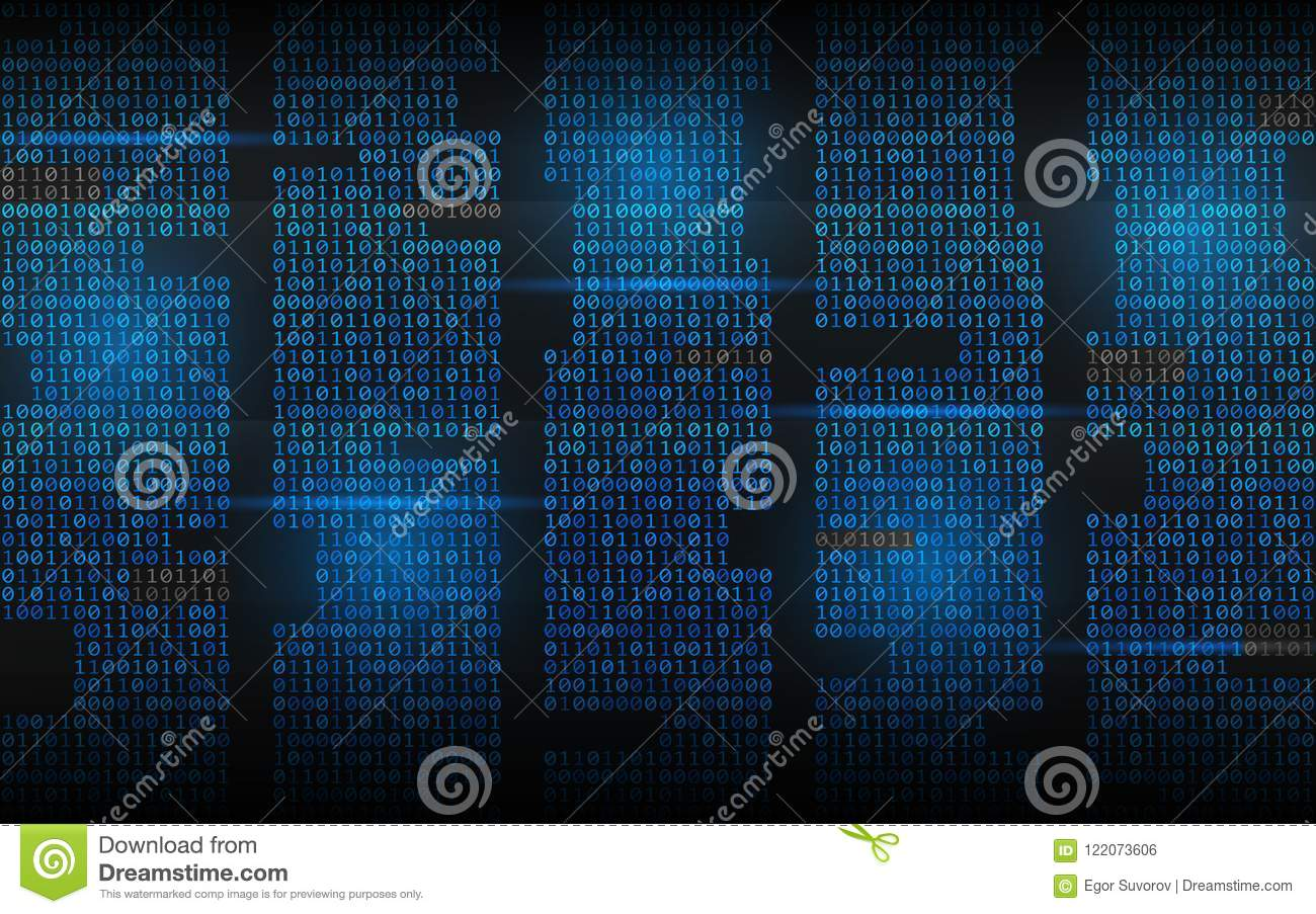 Binary background. Abstract streaming code. Matrix digits on dark backdrop. Blue columns with lights. Hacked concept