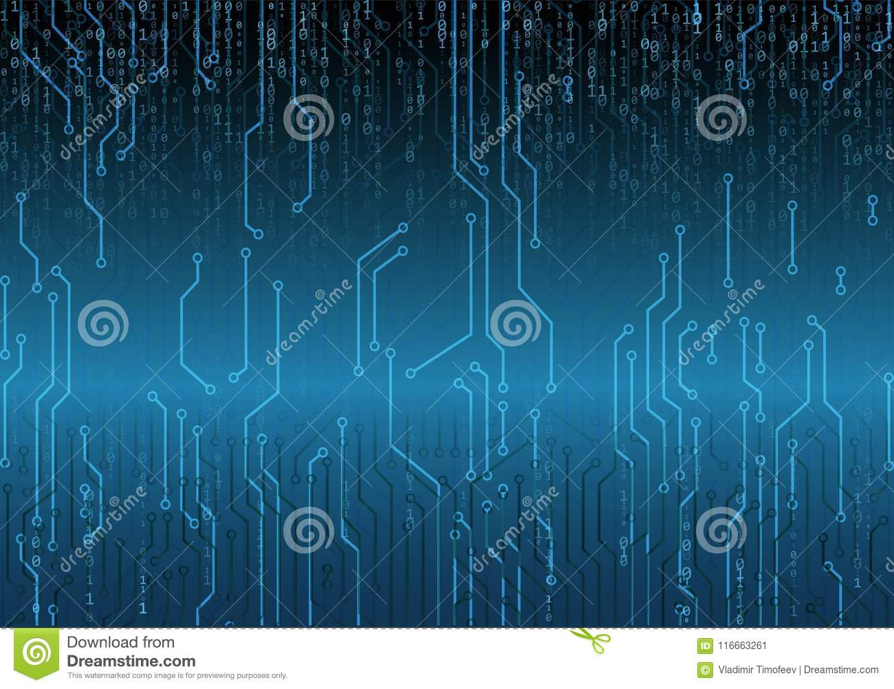 Binary Circuit Board Future Technology Blue Cyber Security Concept Abstact Background With And Code Stock Images Computer Royalty Free Vector Web Developer
