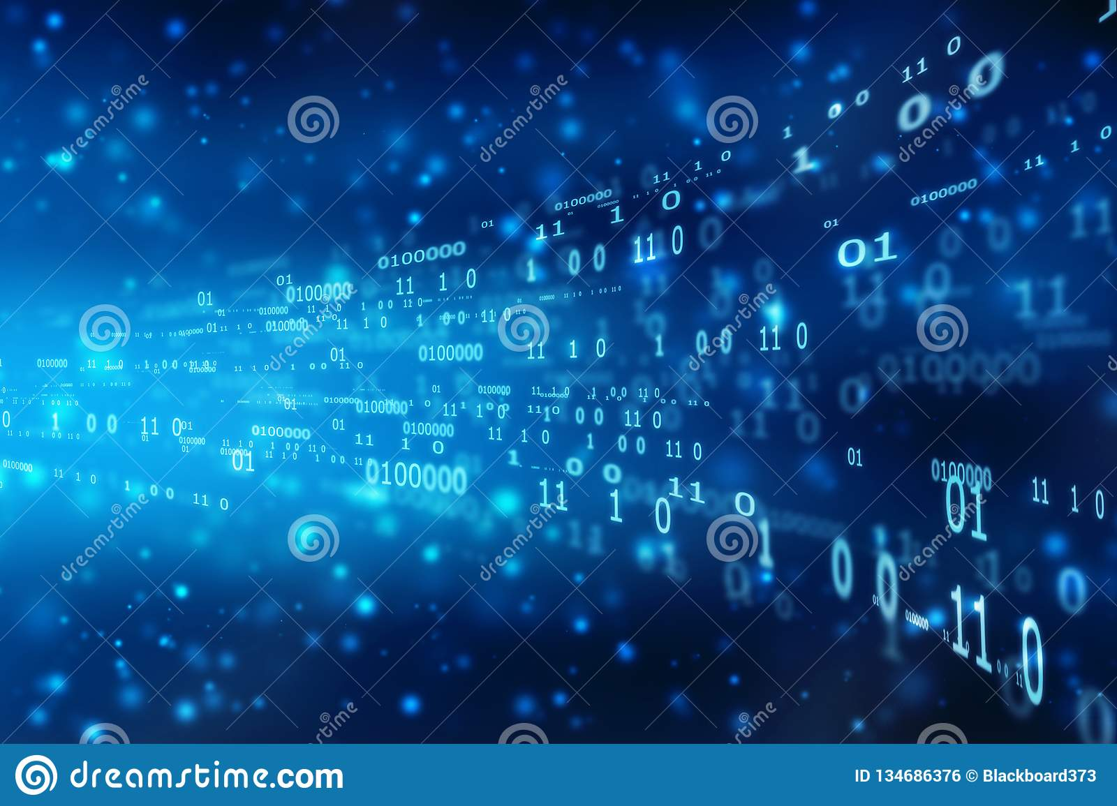Binary Code Background, flowing number one and zero text in binary code format in technology background