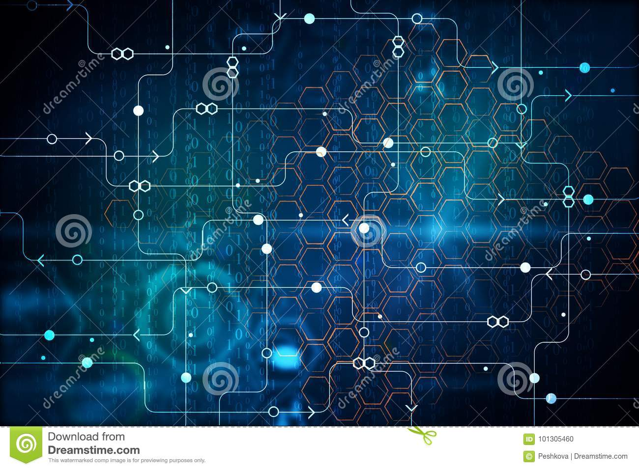 Binary Code And Circuit Background Stock Illustration Digitalelectroniccircuits1jpg