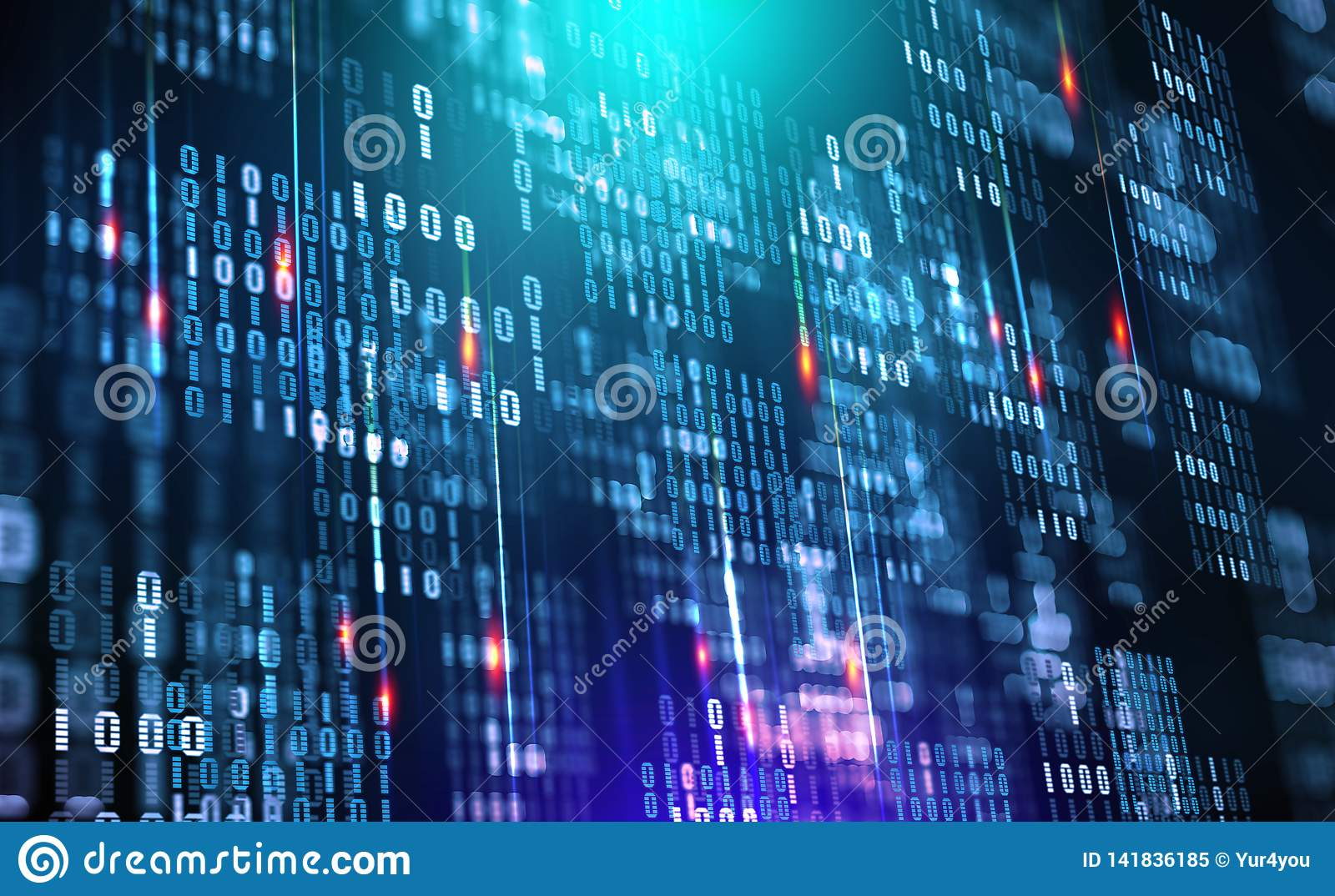 Binary code. Data cloud. Protection in the network. Digital data stream